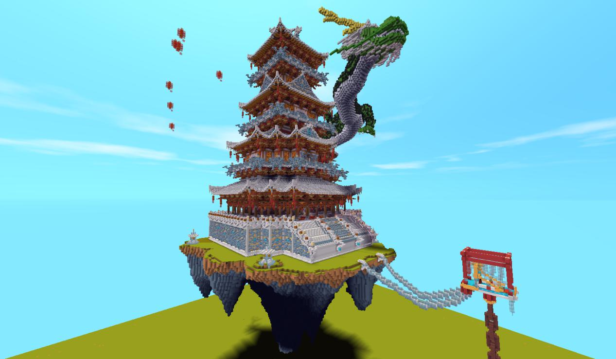 (玩家房主呆呆的創造的中國風對戰地圖,下載量483萬) 實際上在此之前,許多玩家就已經通過天馬行空的創造獲得了大批玩家的簇擁:以沙豆、鎖愛為首的玩家工作室創造了古風觀賞性地圖《尋龍城》《徽派建筑》《神戰》等作品,均有接近千萬的下載量;而玩家嚕嚕妹創造的玩法類地圖《作業大作戰》,和玩家小壞蛋的玩法類地圖《決戰王者》等優秀作品,也都受到百萬余玩家的下載。基于多數玩家對創造、分享的由衷熱愛,《迷你世界》有意將全民創造節打造成周期性的優質品牌活動。通過全民創造節,希望每個玩家都能放飛思維,發現